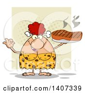 Clipart Of A Red Haired Cave Woman Gesturing Ok And Holding A Grilled Steak On Green Royalty Free Vector Illustration