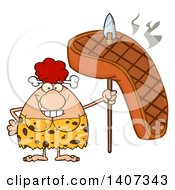 Clipart Of A Red Haired Cave Woman Holding A Grilled Steak On A Spear Royalty Free Vector Illustration