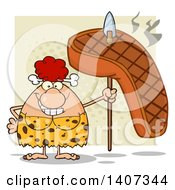 Clipart Of A Red Haired Cave Woman Holding A Grilled Steak On A Spear On Green Royalty Free Vector Illustration