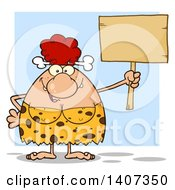 Clipart Of A Red Haired Cave Woman Holding A Blank Sign On Blue Royalty Free Vector Illustration