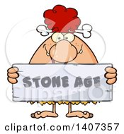 Clipart Of A Red Haired Cave Woman Holding A Stone Age Sign Royalty Free Vector Illustration