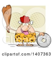Clipart Of A Red Haired Cave Woman With A Stone Wheel And Club On Tan Royalty Free Vector Illustration