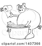 Cartoon Black And White Lineart Pig Washing His Hands In A Tub And Reaching For Paper Towels