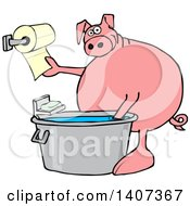 Cartoon Pig Washing His Hands In A Tub And Reaching For Paper Towels