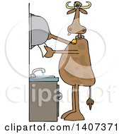 Clipart Of A Cartoon Cow Grabbing Paper Towels After Washing His Hands Royalty Free Vector Illustration