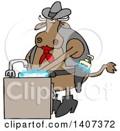 Clipart Of A Cartoon Cowboy Cow Washing His Hands In A Sudsy Sink With Soap In His Gun Holster Royalty Free Vector Illustration by djart