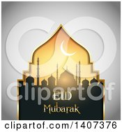 Clipart Of An Eid Mubarak Background With A Silhouetted Mosque And Text Royalty Free Vector Illustration