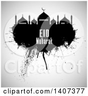 Clipart Of An Eid Mubarak Background With A Silhouetted Mosque And Text Royalty Free Vector Illustration by KJ Pargeter