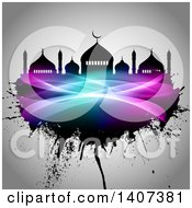 Clipart Of An Eid Mubarak Background With A Silhouetted Mosque And Grunge Royalty Free Vector Illustration