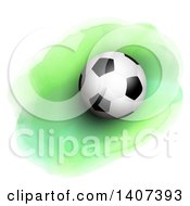 Clipart Of A 3d Soccer Ball On Green Watercolor Royalty Free Vector Illustration