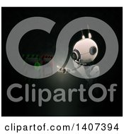 Clipart Of A 3d Android Robot Pushing A Button Royalty Free Illustration