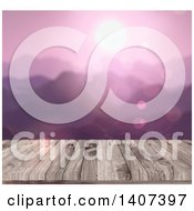 Clipart Of A Blurred Purple Sunset Over Mountains With A 3d Wood Table In Focus Royalty Free Illustration
