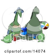 Happy Green Dinosaur Family Having Fun At The Beach