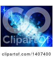 Clipart Of A Background Of A 3d Diagonal Dna Strand In Blue Royalty Free Illustration