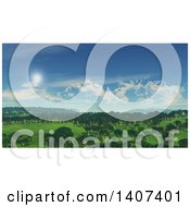 Clipart Of A 3d Valley With Trees On A Sunny Day Royalty Free Illustration