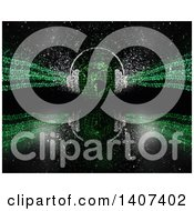 Clipart Of A 3d Globe With Sparkle Headphones And Green Binary Code On Black With A Reflection Royalty Free Illustration