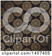 Clipart Of A Gold And Black Ornate Floral Background Royalty Free Vector Illustration