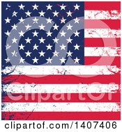 Clipart Of A Distressed Grungy American Flag Background Royalty Free Vector Illustration