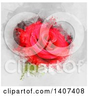 Clipart Of A Red Rose With Grunge Royalty Free Illustration