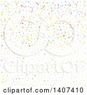 Clipart Of A Background Of Colorful Confetti And Streamers Royalty Free Vector Illustration