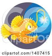 Clipart Of A Glowing Angler Fish In The Deep Sea Royalty Free Vector Illustration by Alex Bannykh