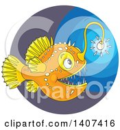 Clipart Of A Shining Angler Fish In The Deep Sea Royalty Free Vector Illustration