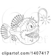 Clipart Of A Black And White Lineart Shining Angler Fish Royalty Free Vector Illustration by Alex Bannykh