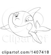 Clipart Of A Black And White Lineart Killer Whale Orca Swimming Royalty Free Vector Illustration by Alex Bannykh