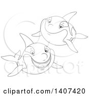 Clipart Of Black And White Lineart Killer Whale Orcas Swimming Royalty Free Vector Illustration