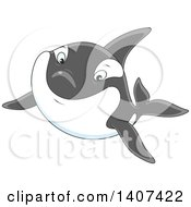 Clipart Of A Happy Killer Whale Orca Swimming Royalty Free Vector Illustration