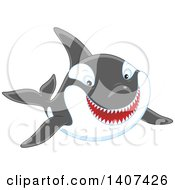 Clipart Of A Killer Whale Orca Swimming Royalty Free Vector Illustration