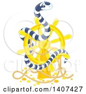 Clipart Of A Black And White Striped Sea Snake On A Sunken Ship Helm Royalty Free Vector Illustration by Alex Bannykh