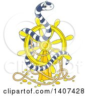 Clipart Of A Cute Black And White Striped Sea Snake On A Sunken Ship Helm Royalty Free Vector Illustration by Alex Bannykh