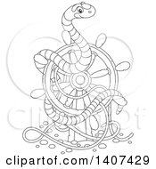 Clipart Of A Black And White Lineart Striped Sea Snake On A Sunken Ship Helm Royalty Free Vector Illustration by Alex Bannykh