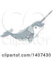 Clipart Of A Cute Happy Narwhal Swimming Royalty Free Vector Illustration by Alex Bannykh