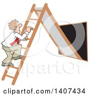 Clipart Of A Cartoon Caucasian Business Man Climbing Up The Corporate Ladder Royalty Free Vector Illustration
