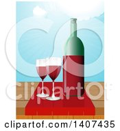 Clipart Of A Bottle And Glasses Of Red Wine On A Wood Table Against Sky With Sun Rays Royalty Free Vector Illustration by elaineitalia