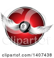 Clipart Of A 3d Winged Eight Ball Flying Over A Red And Chrome Circle Royalty Free Vector Illustration