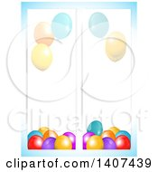 Party Balloon Banners Over Gradient Blue
