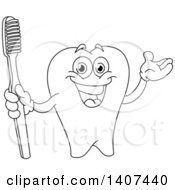 Clipart Of A Black And White Lineart Tooth Character Presenting And Holding A Toothbrush Royalty Free Vector Illustration by yayayoyo