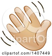 Clipart Of A Cartoon Emoji Hand Waving Royalty Free Vector Illustration