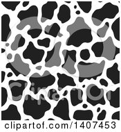 Clipart Of A Black And White Seamless Cow Pattern Royalty Free Vector Illustration
