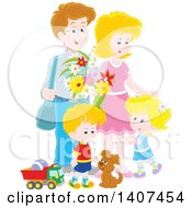 Happy White Family Of Four With A Puppy And Toys