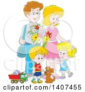 Clipart Of A Happy Caucasian Family Of Four With A Puppy And Toys Royalty Free Vector Illustration