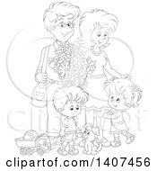 Clipart Of A Black And White Lineart Happy Family Of Four With A Puppy And Toys Royalty Free Vector Illustration