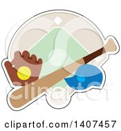 Clipart Of A Softball In A Glove Cap And Bat Over A Diamond Royalty Free Vector Illustration