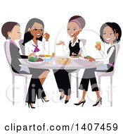 Clipart Of A Group Of Ladies Chatting Over Lunch Royalty Free Vector Illustration