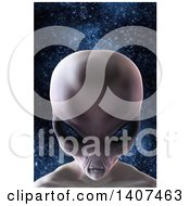 Clipart Of A 3d Alien Beauty Shot On A Star Background Royalty Free Illustration