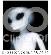 Clipart Of A 3d Xray Alien On A Black Background Royalty Free Illustration