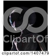 3d Alien On A Black Background
